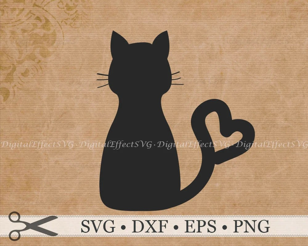 Download CAT SVG File CAT Silhouette Svg Png Dxf Eps Cat Heart