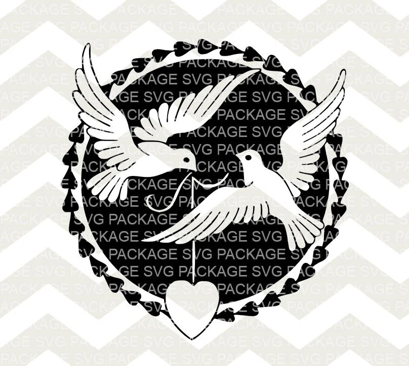 Download SVG Wedding Cutting File Two Doves pigeons Svg Hearts Love
