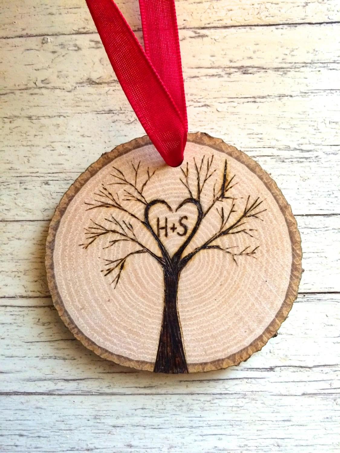 Tree Initials Personalized Wood Slice Ornament Custom Our
