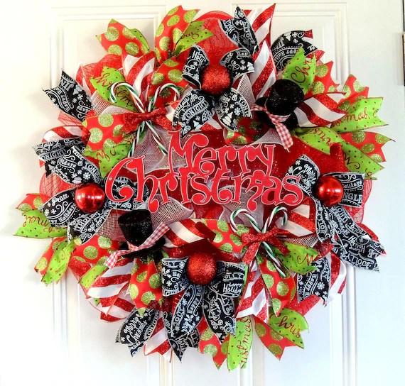 Merry Christmas Deco Mesh Wreath Deco Mesh Christmas Wreath
