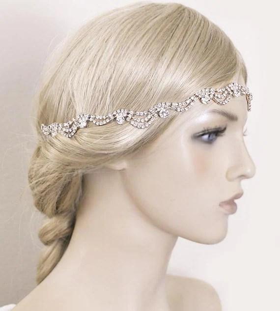 Rose Gold Bridal Headband Wedding Headpiece Rhinestone Wave