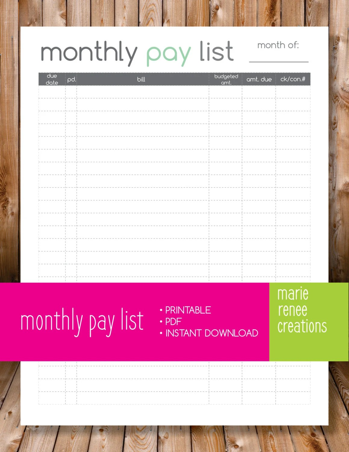 New Monthly Pay List Blank Printable