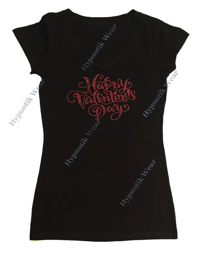 Womens Rhinestone T Shirt Red Happy Valentines Day