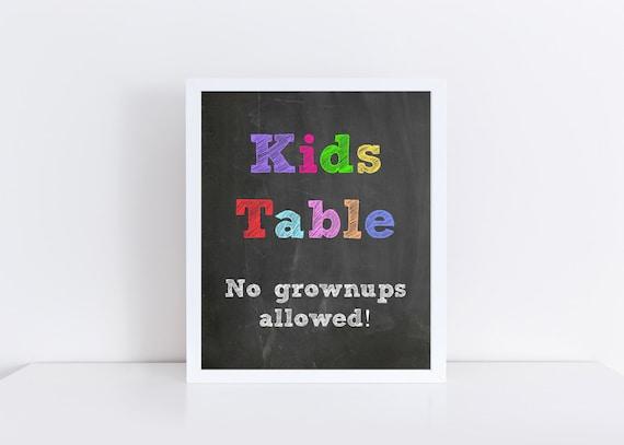Wedding Kids Table Sign Chalkboard Wedding Kids Table