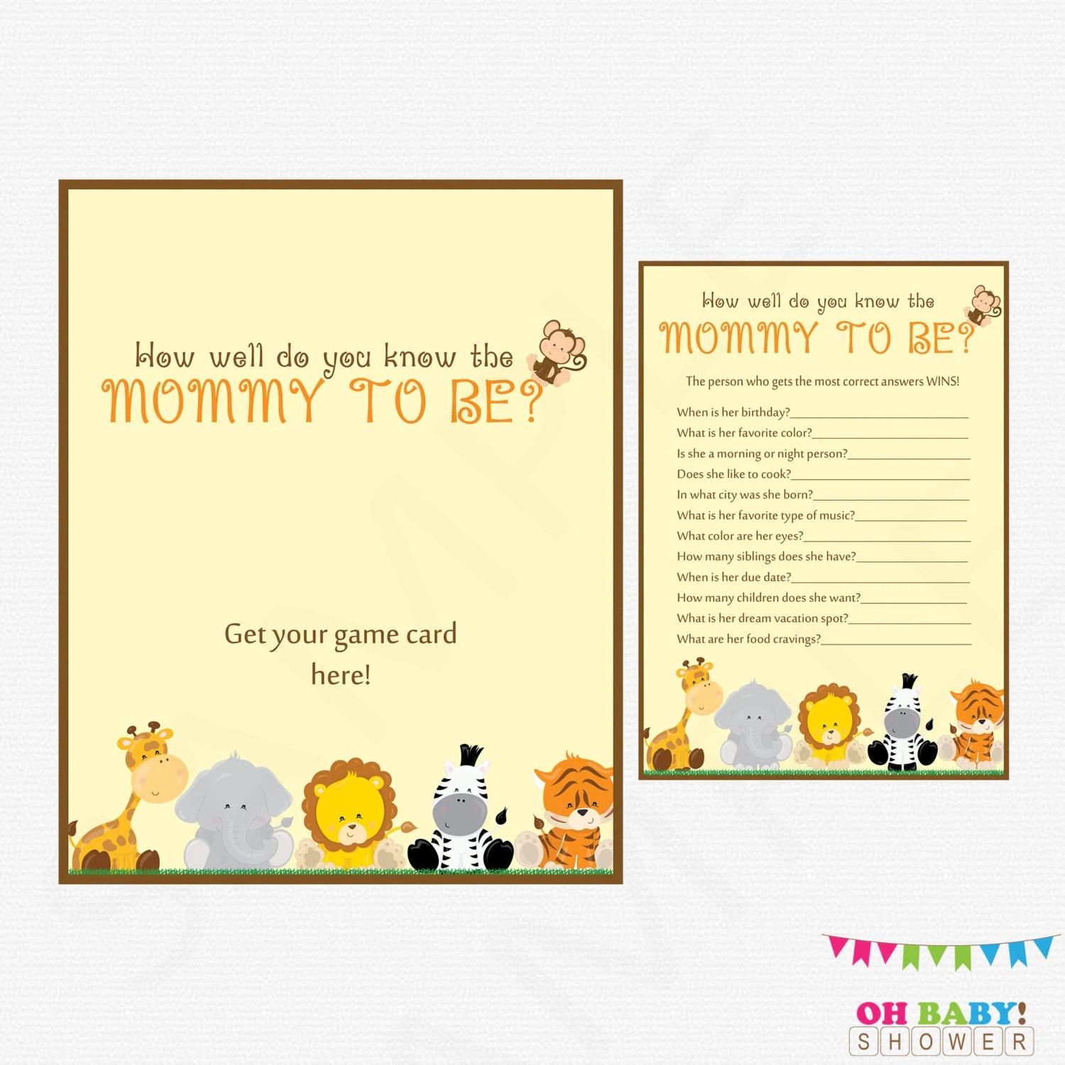 Safari Baby Shower Games How Well Do You Know The Mommy To