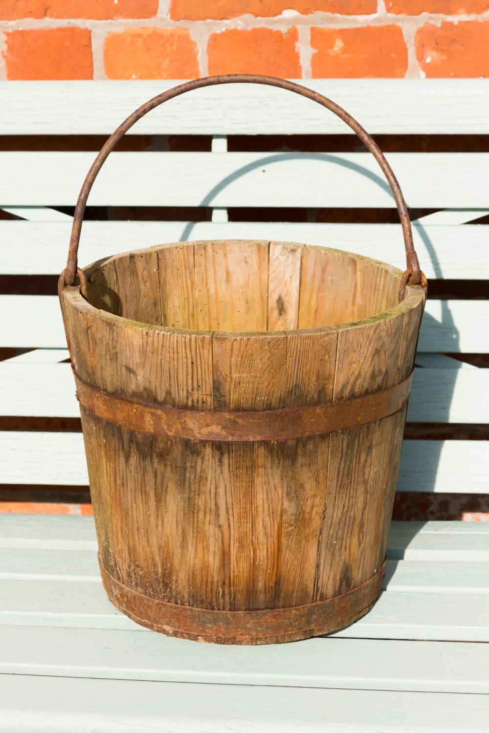 Vintage Wooden Bucket Metal Band And Handle Planter
