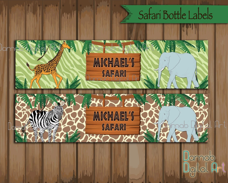 Safari Party Water Bottle Label Safari Birthday Printables