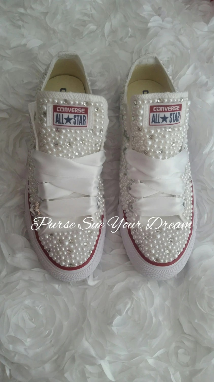 Bridal Pearl And Crystal Rhinestone Custom Converse Wedding