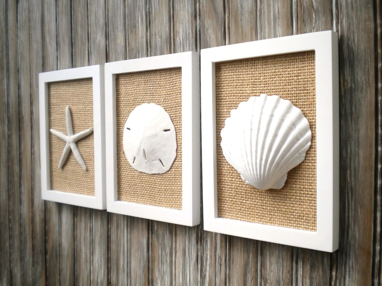 Cottage Chic Set Of Beach Decor Wall Art Sea Shell Home