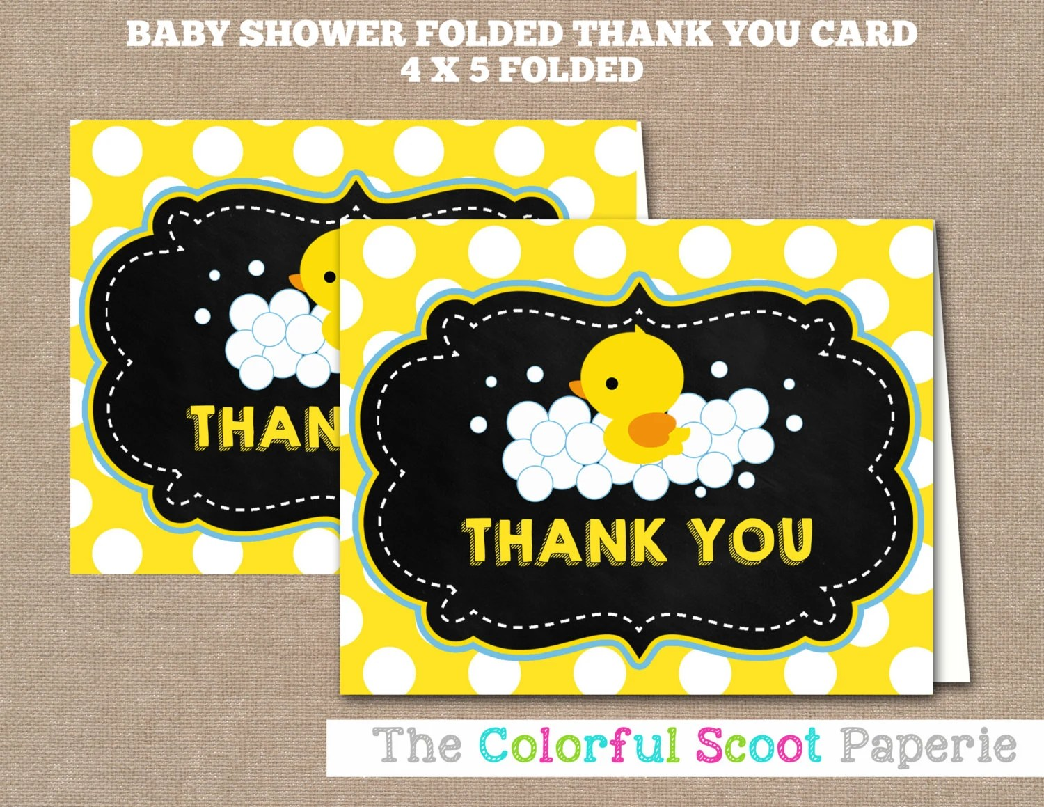 Printable Rubber Duck Baby Shower Thank You Card Baby Shower