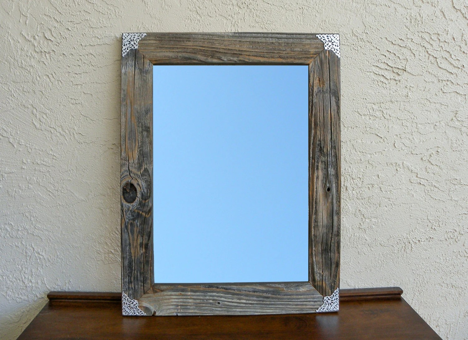 Reclaimed Wood Mirror With Silver Filigree Corners. Rustic