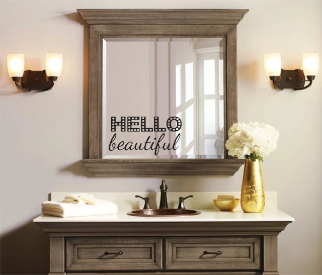 Hello beautiful Hello Beautiful Mirror Decal Bathroom Mirror