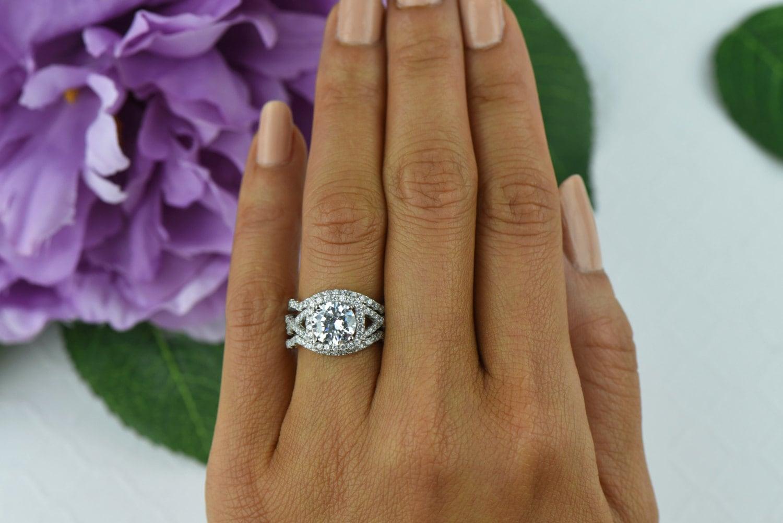 225 Ctw Twisted Halo Ring 3 Band Wedding Set Engagement