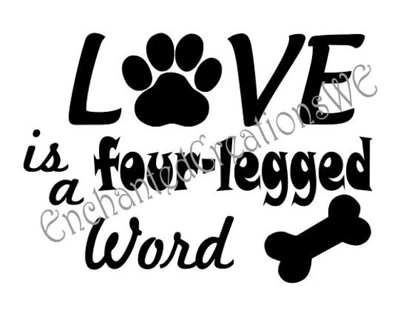 Download SVG file LOVE is a four-legged Word
