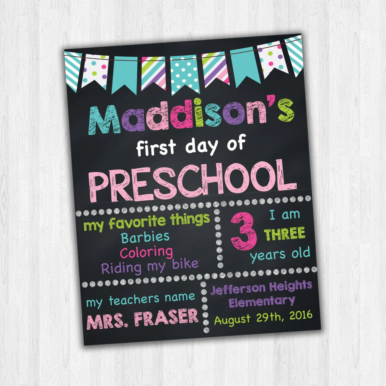 Preschool Signs First Day Of School 1st Day Of Preschool