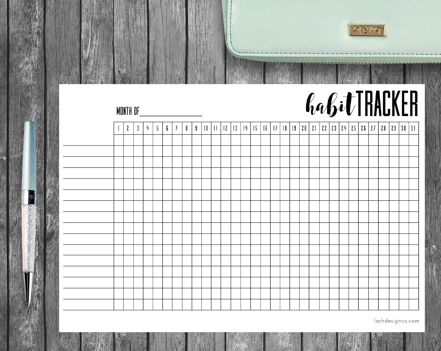 Printable Habit Tracker A5 Bullet Journal Or Planners
