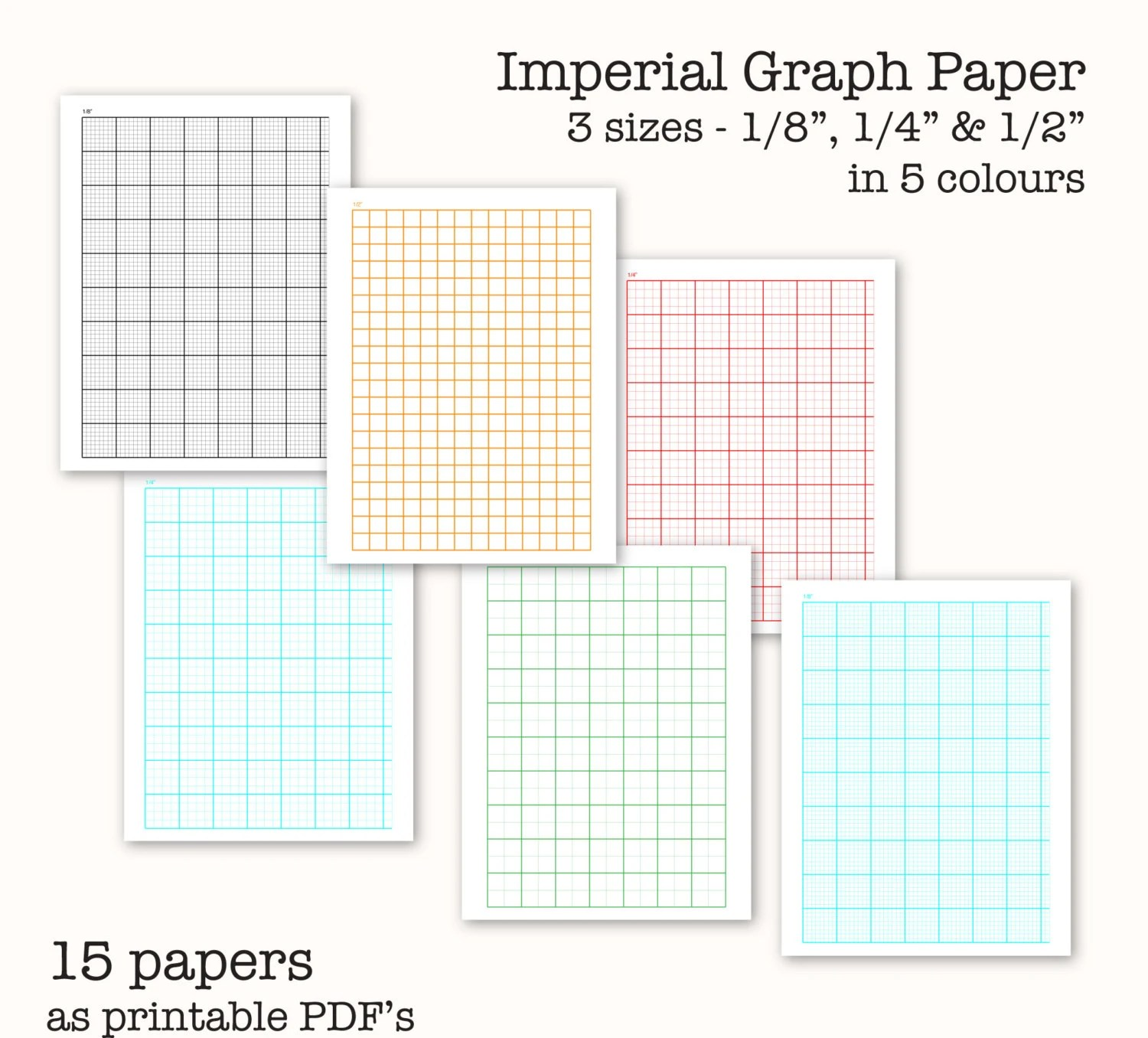 15 Imperial Measure Graph Papers Digital Graph Paper