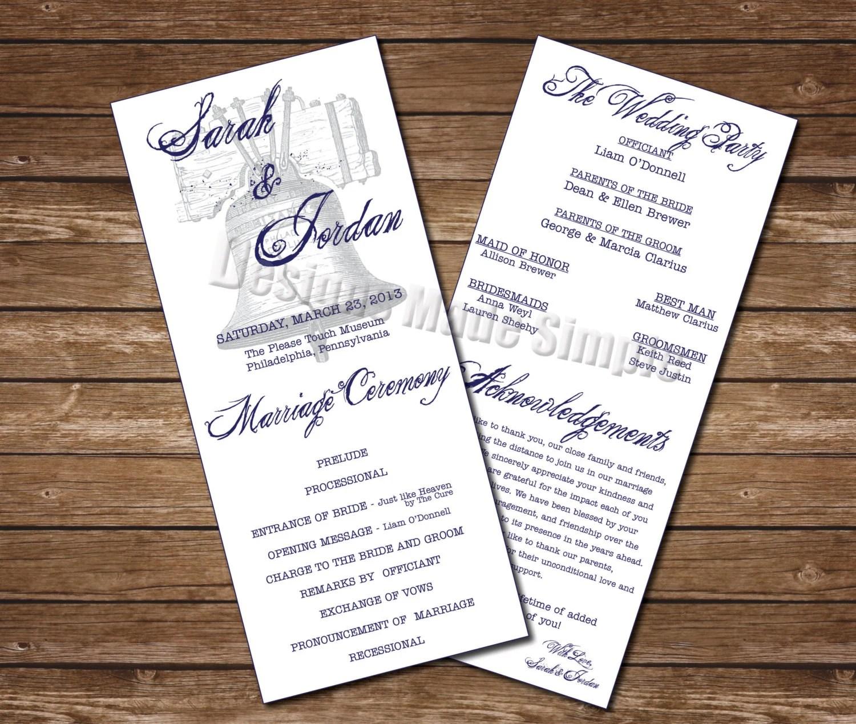 Philadelphia Themed Wedding Program With Liberty Bell And
