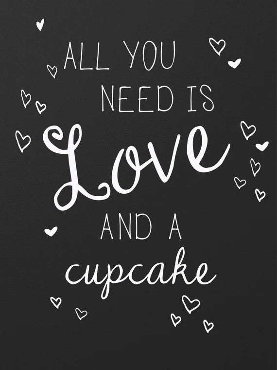 Download All You Need is Love and a Cupcake Printable Chalkboard Sign