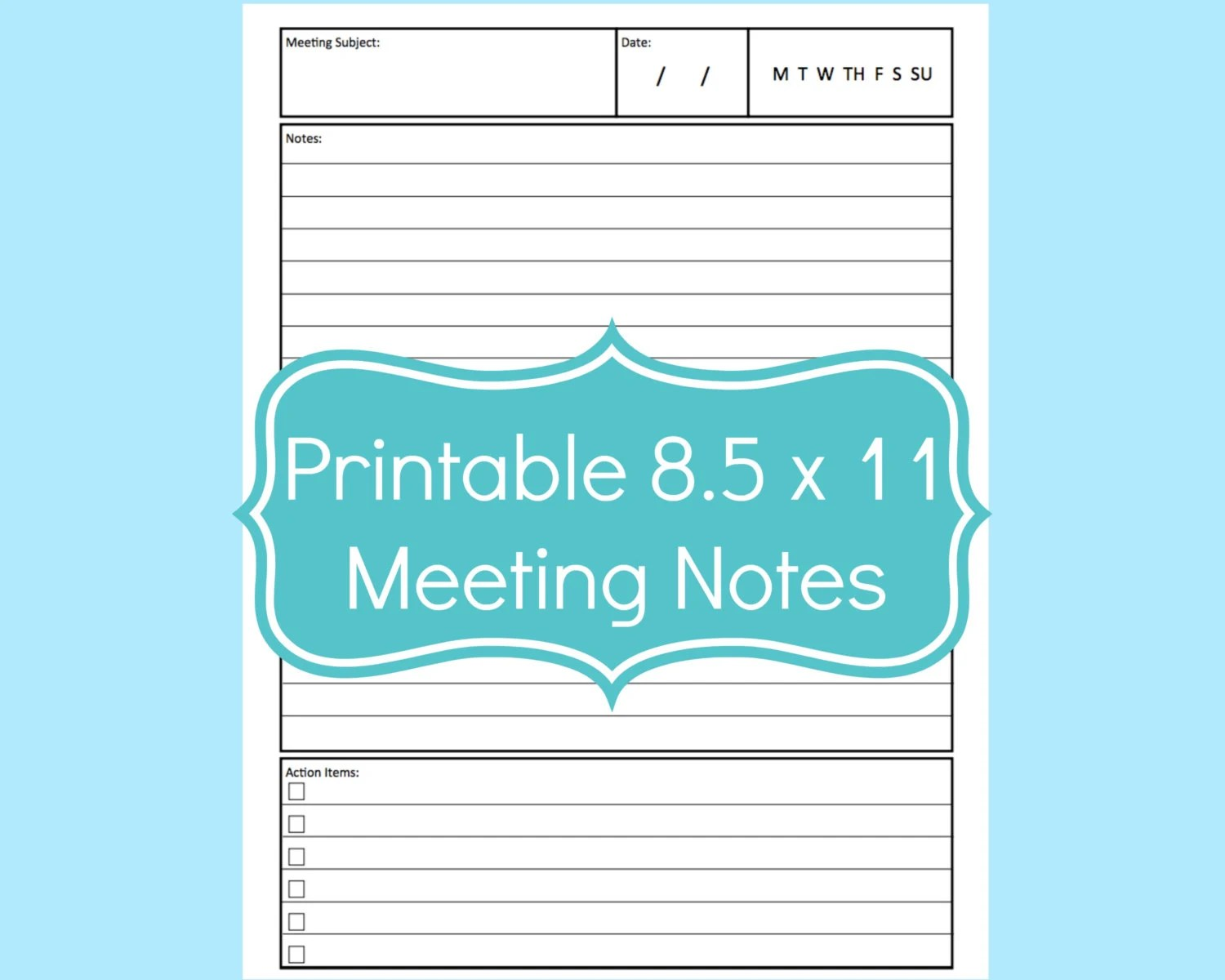Meeting Notes Template Planner Meeting Notes Meeting