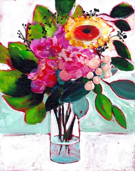 60% Off SALE - Still Life Painting Print - July's Flowers - Floral Illustration - Spring - Large Print 16x20 - Wall Art - Wall Decor - Galle
