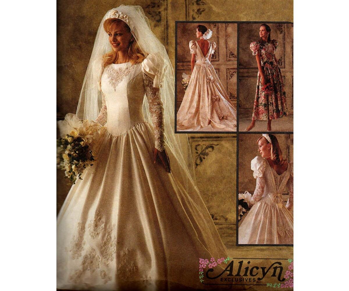 McCall's 6885 90s Wedding Dress Pattern Drop Waist Low