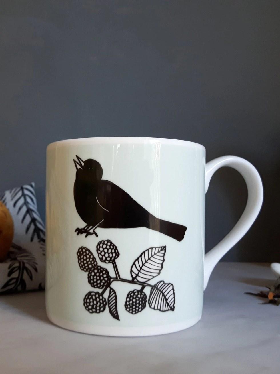 Blackbird mug, light aqua...