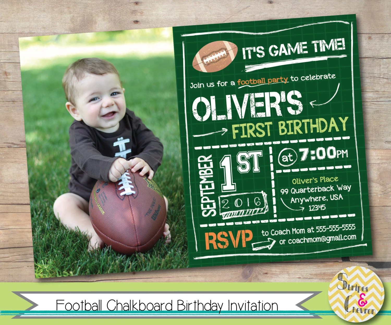 Two Year Old Birthday Invitations Football