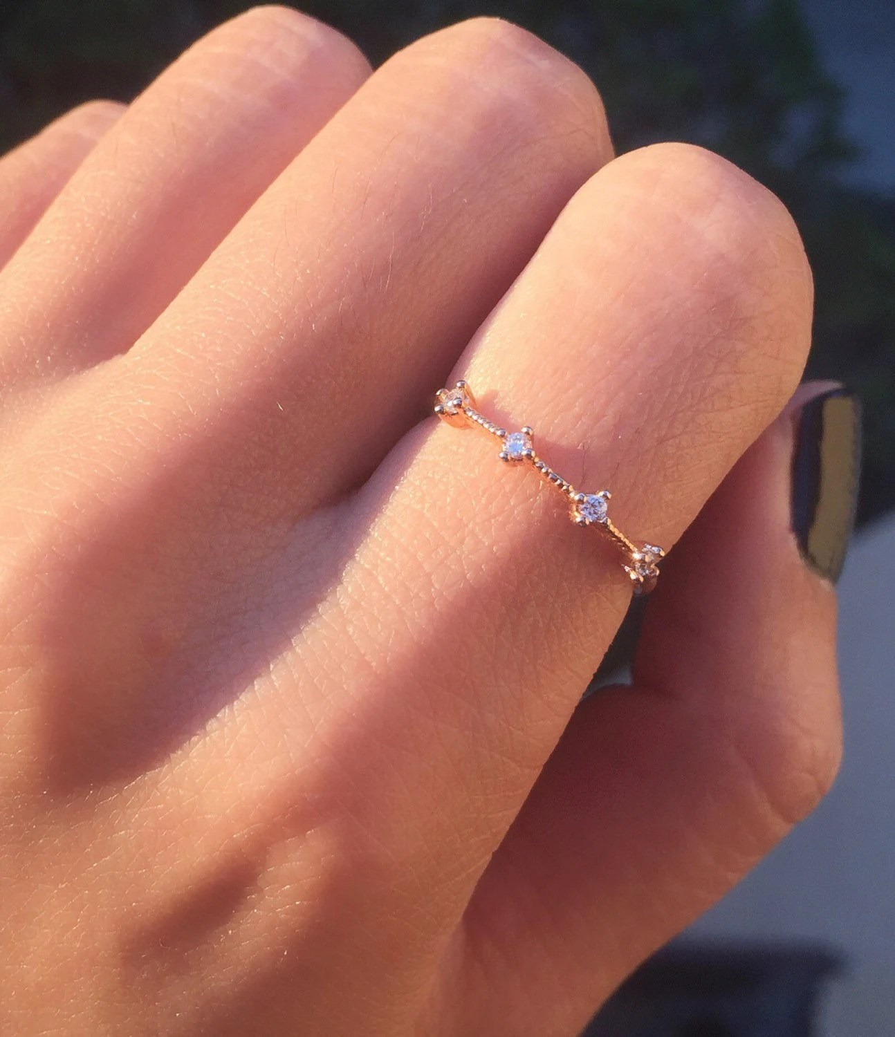 Rose Gold Four Stone Band Dainty Rose Gold Ring Minimal