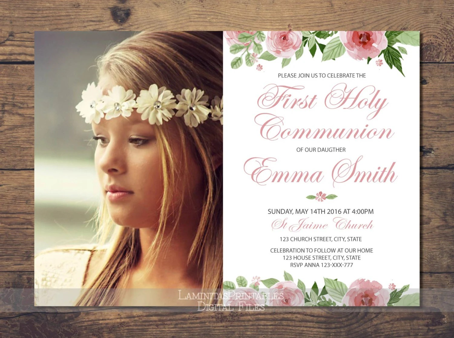Floral First Communion Invitation Girl Printable Photo