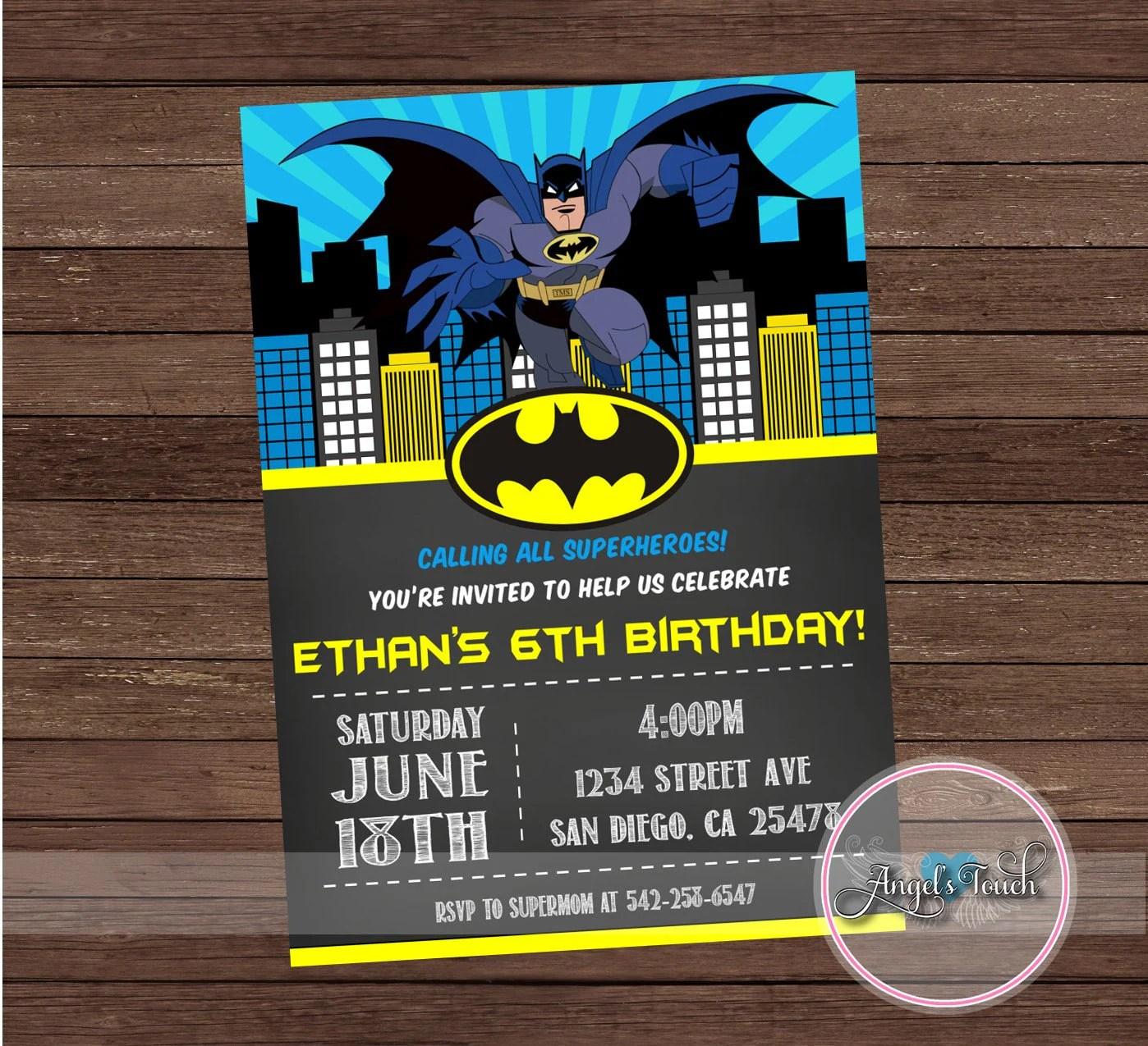 Birthday Invitations Batman