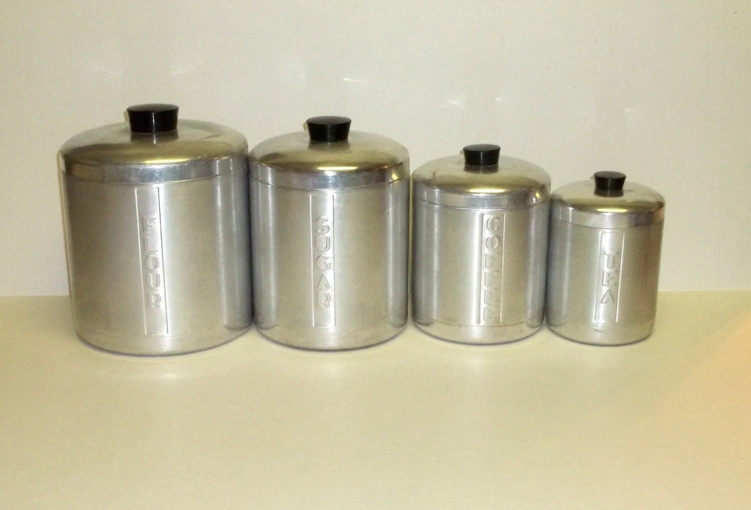 Silver Tea Coffee Sugar Canisters >> Aluminum Canisters Flour ,Sugar ,Coffee ,Tea ,Holder Vintage Atomic Containers ,Set of 4 1960s ...