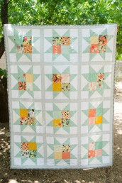 Mint Green, Grey, Pink and Yellow Sawtooth Star Quilt - Lap Quilt - Baby Quilt - Throw Quilt