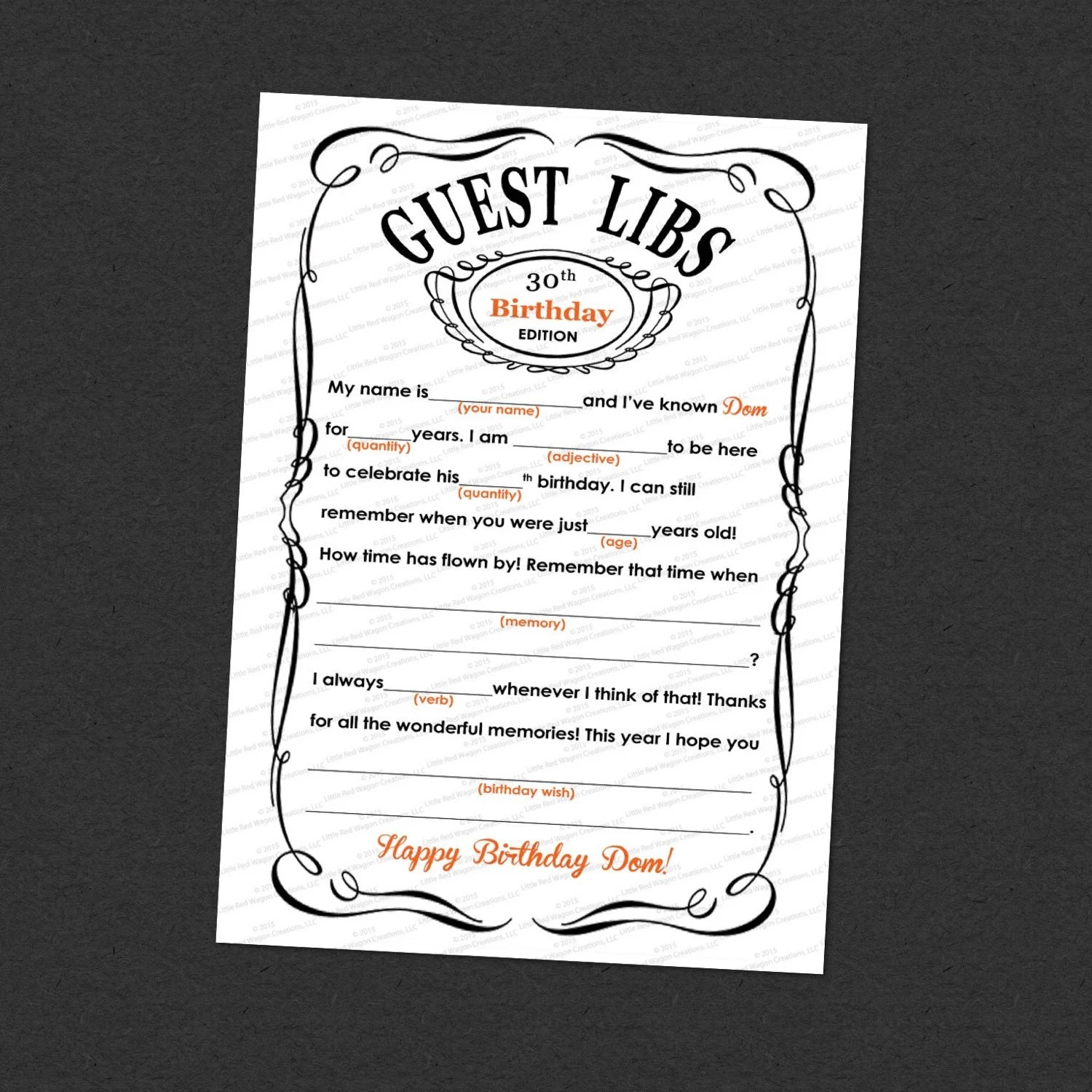 Guest Mad Libs Adult Birthday Printable 5 7 Customized I