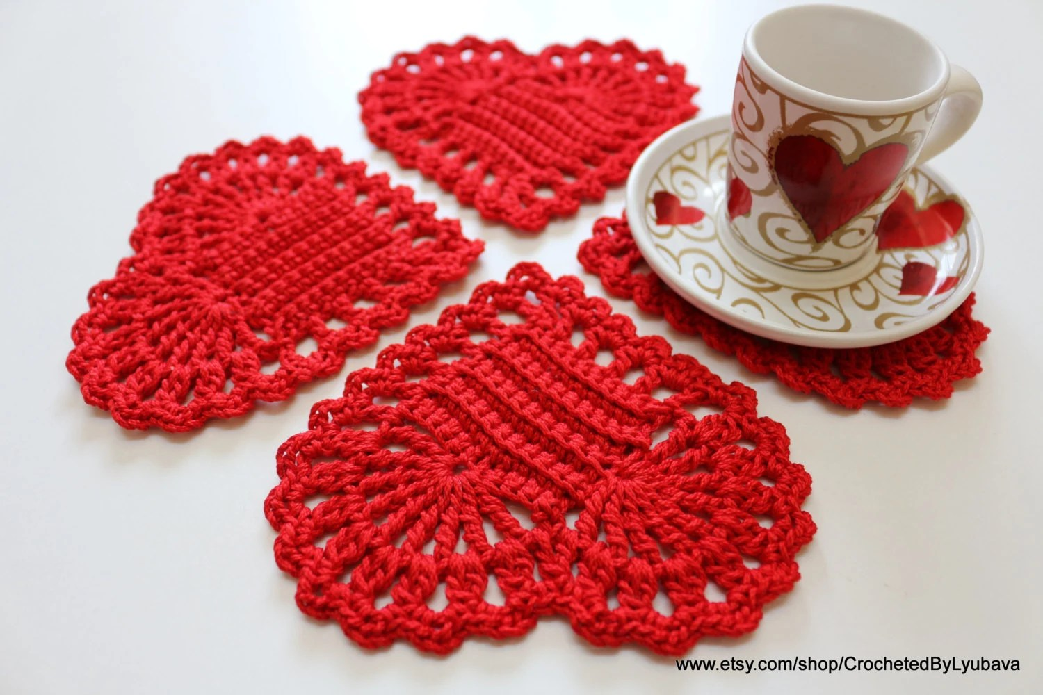 Christmas Gifts Crochet Coasters Set Of 4 Valentines Day