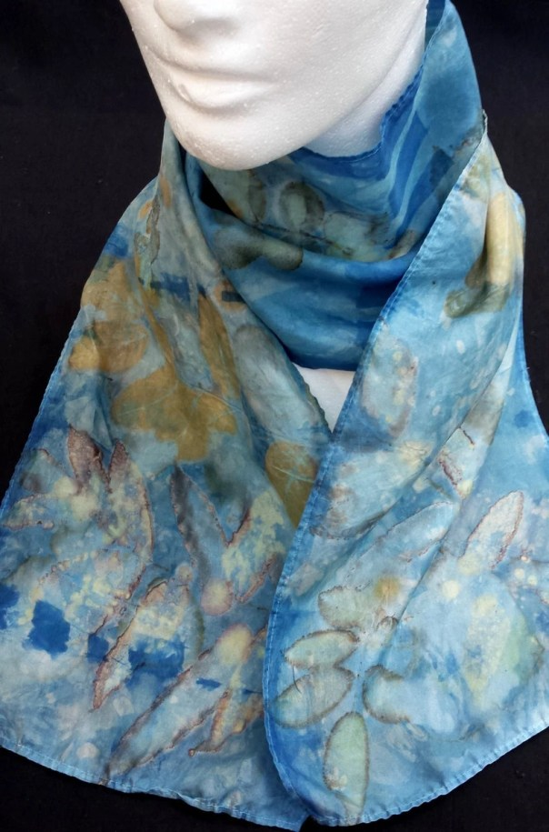 Blue Silk Scarf, Designs & colors from Mother Nature's plants and leaves, original sustainable art, beautiful ecodye art by artist. OOAK USA