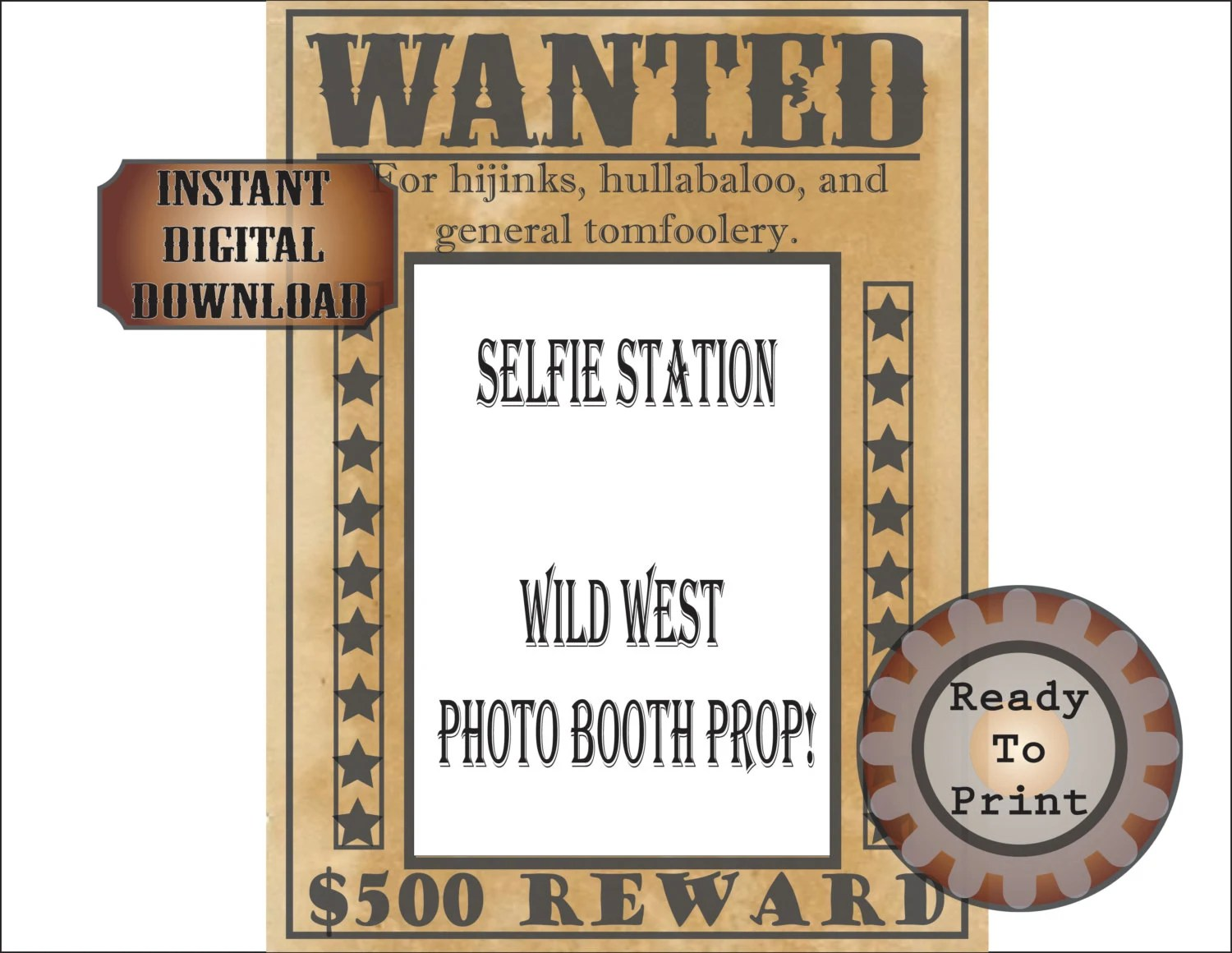 Wanted Poster Selfie Station Printable Wild West Bachelorette