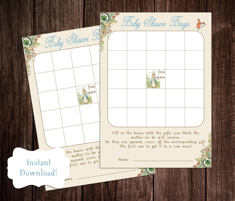 Bingo Baby Shower Game Printable Peter Rabbit Baby Shower