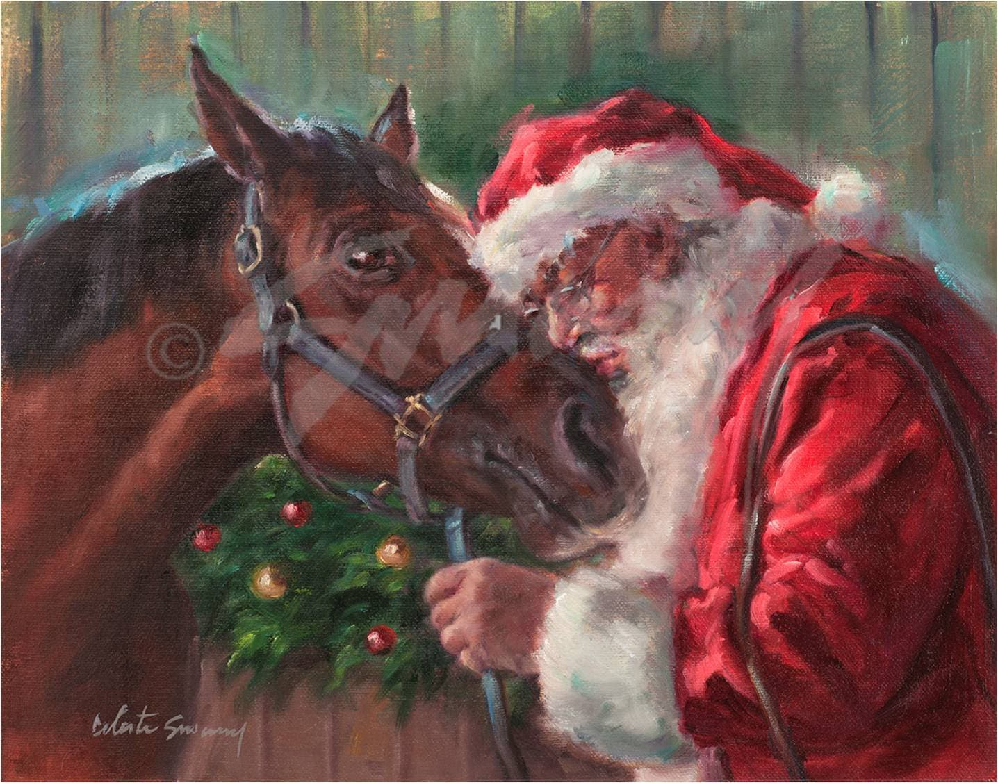 Christmas Card Of Santa Kissing His Horse Santa