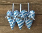 Oktoberfest fabric hearts traditional Bavarian diamond blue white Wies'n decoration set of 3 Bavarian heart hangers pretzel country style