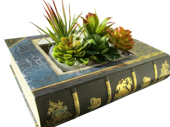 book planter gardening creative diy home decor