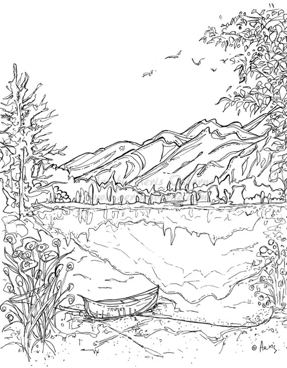 serenity jasper landscape printable coloring page canoe