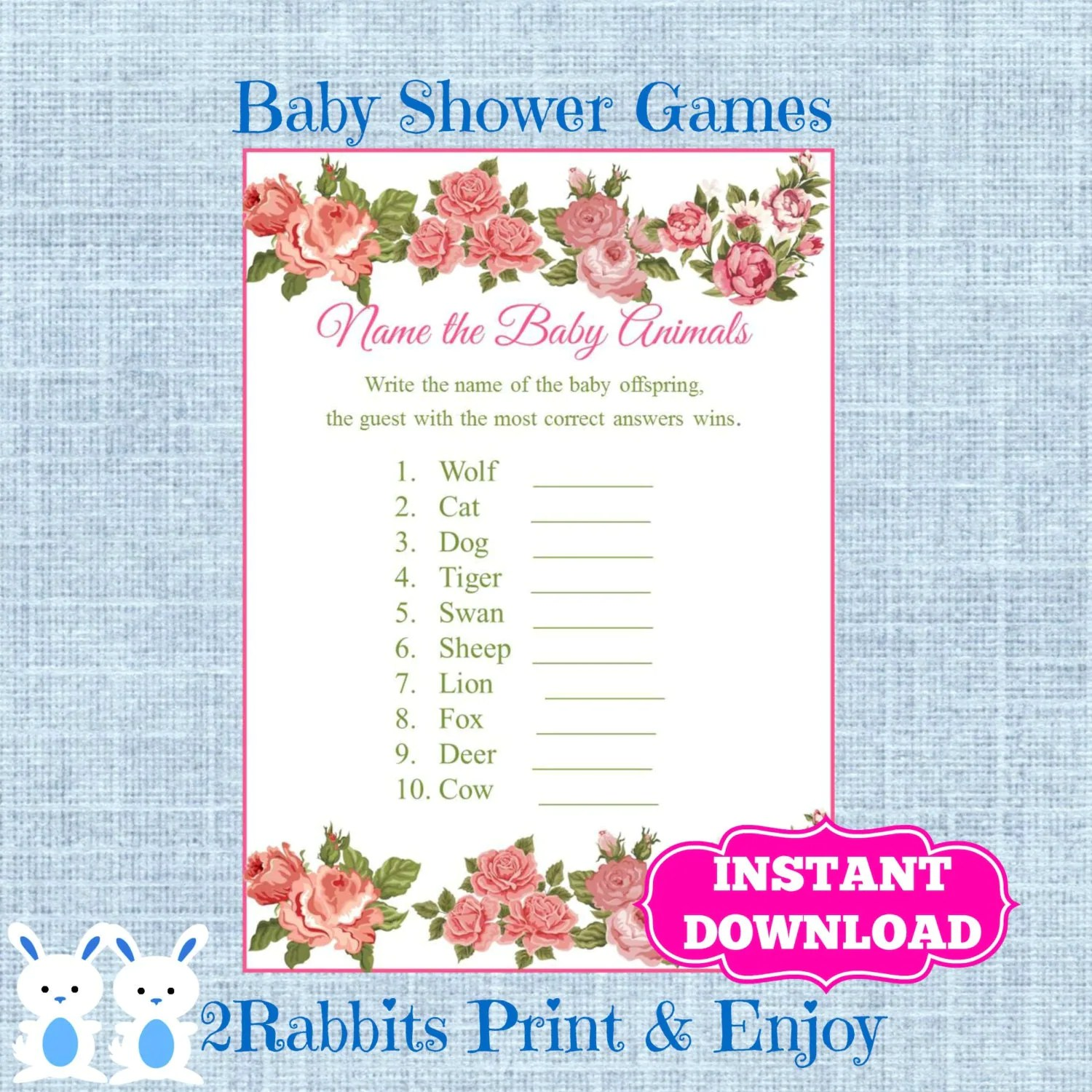 Floral Baby Shower Baby Animal Game Plus Key Answer Flower