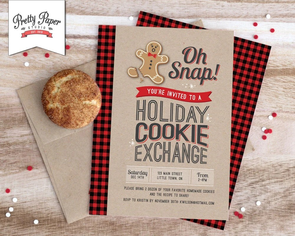 Oh Snap Holiday Cookie Exchange Invitation Buffalo Plaid