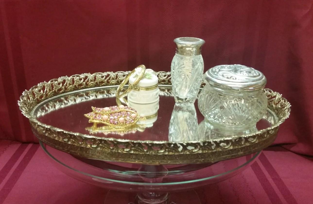 Vintage OVAL Gold-tone Metal Filigree Mirror Dresser Tray