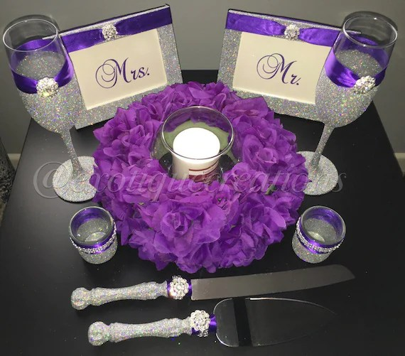 Items Similar To Silver Bling And Purple 10pc Wedding Set