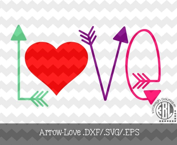 Download Arrow Love INSTANT DOWNLOAD in .dxf/.svg/.eps for use with