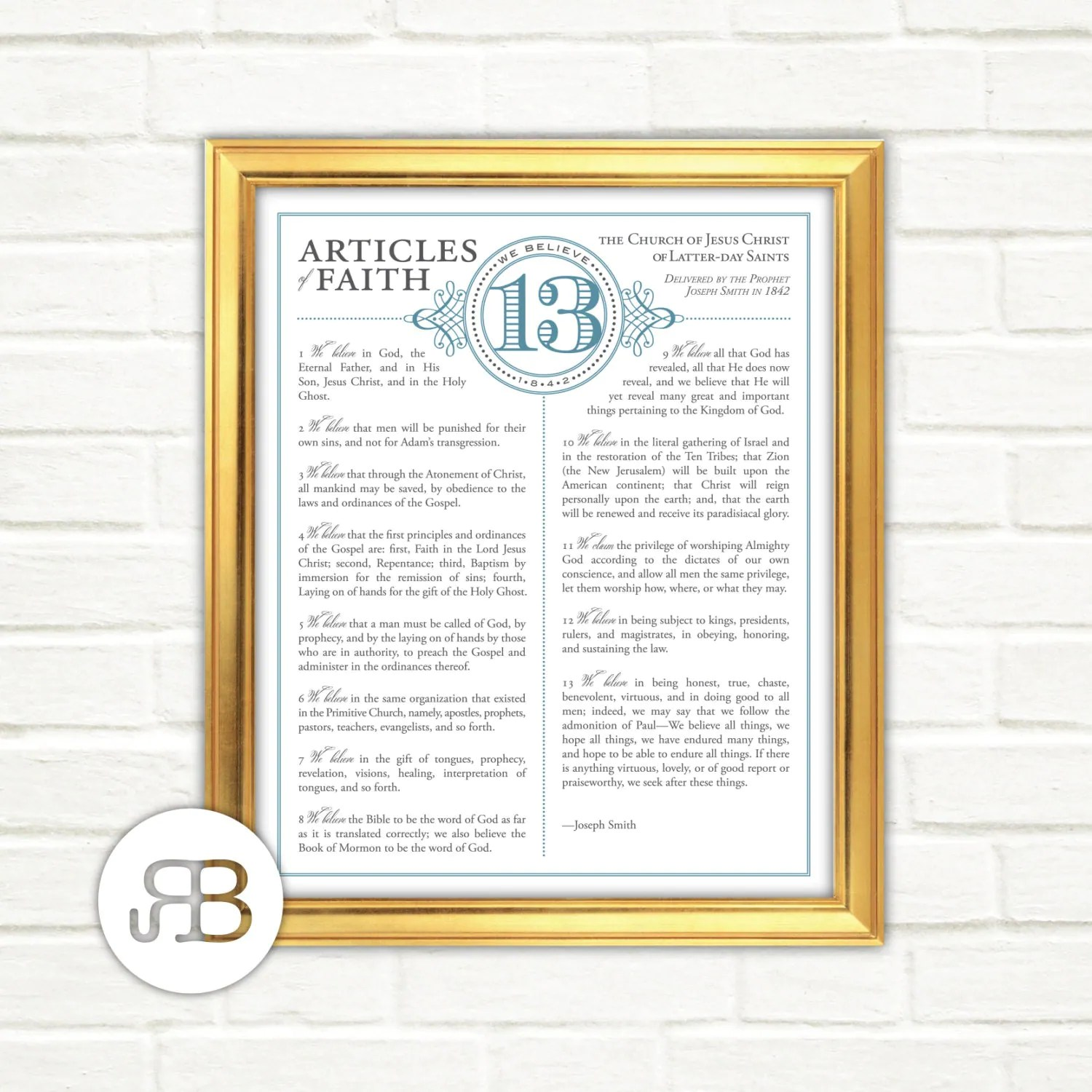 Lds Thirteen Articles Of Faith Choice Of Color Printable