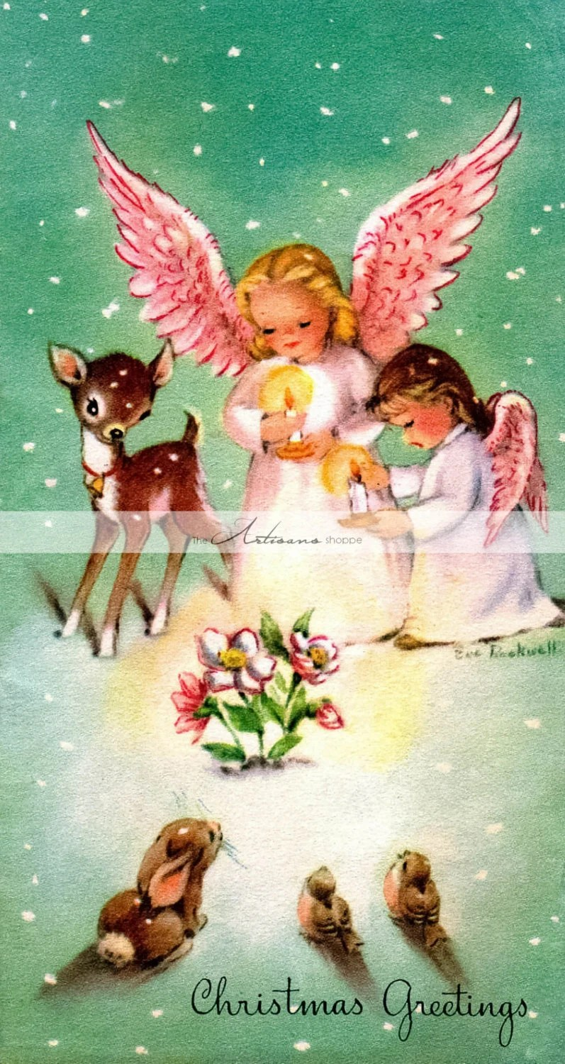 Christmas Angels Card Baby Deer Fawn Snow Vintage Antique Art