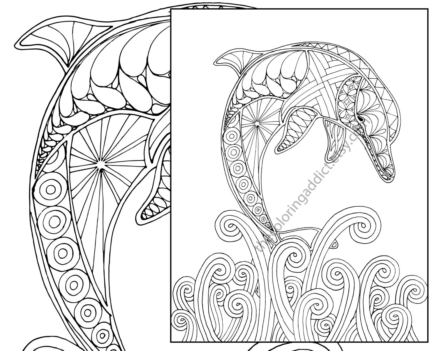 Dolphin Coloring Page Adult Coloring Sheet Nautical